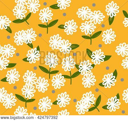 White Flowers On Yellow Background. Seamless Pattern