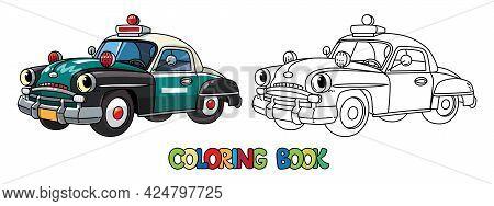 Funny Small Retro Police Car Coloring Book