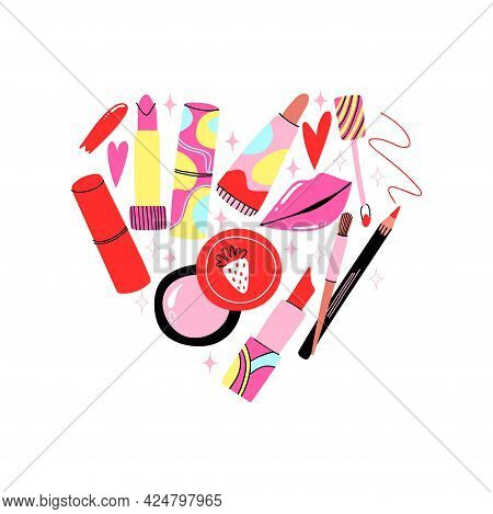 Lips Cosmetic. Cartoon Hand Drawn Lipstick And Gloss, Pencil And Brush In Heart Form. Bright Abstrac