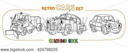 Funny Small Retro Soviet Cars Coloring Book Set