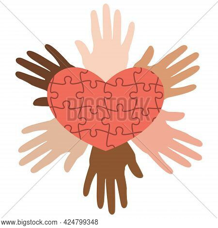 Unification Of Peoples A Fan Of Hands United In A Heart