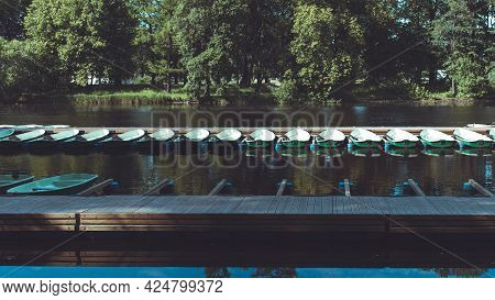 Pleasure Boats Are Parked In The Park For Rent.