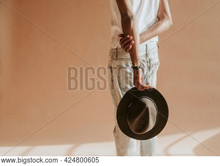 Black male model in a studio photoshoot