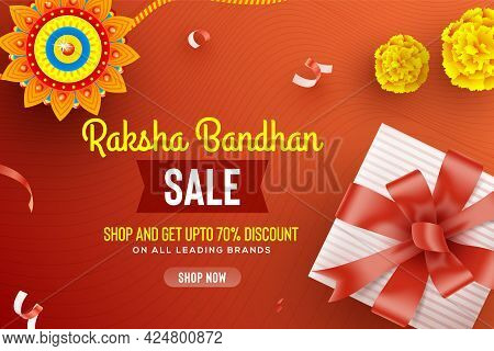 Greeting Background With Decorated Rakhi And Gift For Raksha Bandhan (bond Of Protection And Care) -