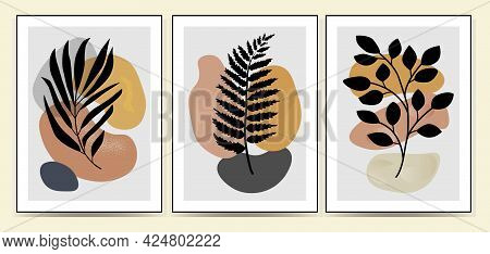 Set Of Minimalism Botanical Vector Illustration As Abstraction Composition With Leaves. Ideal For Ar