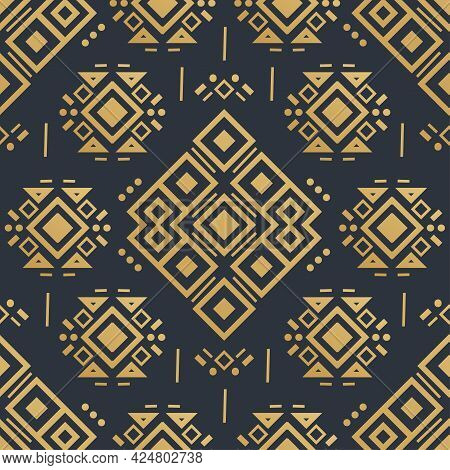 Navajo Gold Seamless Patterns. Aztec Elements, Vector Design. Tribal Background In Boho Style. One O
