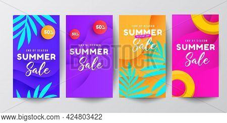 Vector Set Of Social Media Stories Design Template. Summer Story Vector Illustration With Tropical L