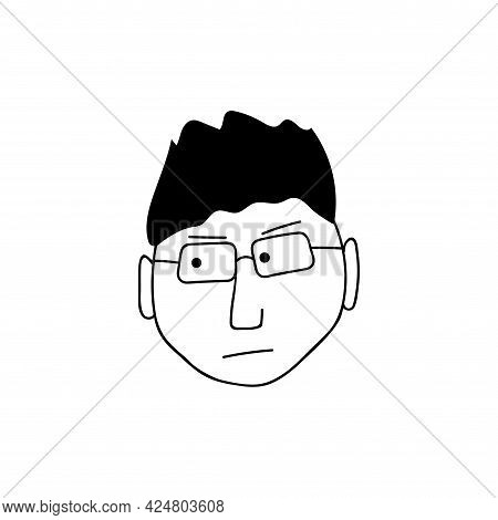 Hand Drawn Human Face Doodle. Young Guy With Glasses. Isolated Ink Drawing With A Pen. Pencil Drawin