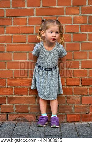 Little Beautiful Girl In A Gray Dress On A Background Of An Orange Brick Wall. Space For Text And Co