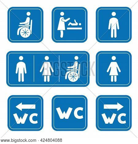 Restroom Icons. Man, Woman, Wheelchair Person Symbol And Baby Changing. Male, Female, Handicap Toile
