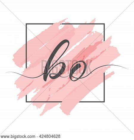 Calligraphic Lowercase Letters Bo In A Single Line On A Colored Background In A Frame. Vector Illust