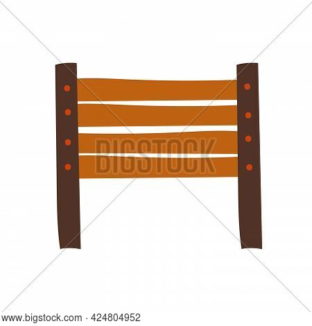 Wooden Hand Drawn Fence. Country Style Fence