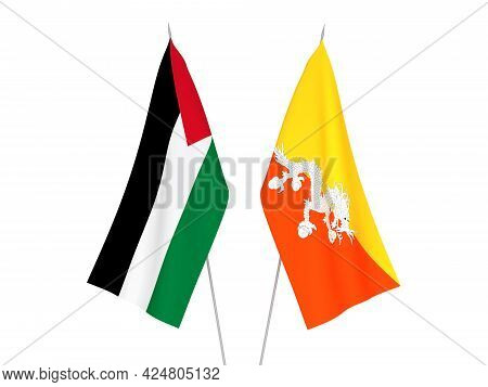 National Fabric Flags Of Palestine And Kingdom Of Bhutan Isolated On White Background. 3d Rendering