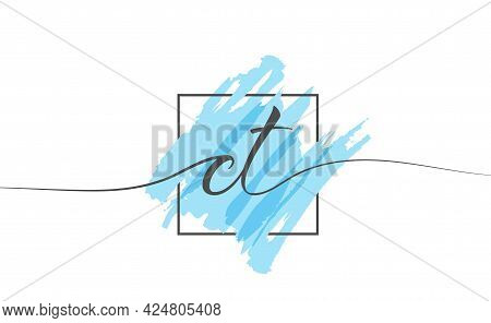 Calligraphic Lowercase Letters Ct In A Single Line On A Colored Background In A Frame. Vector Illust