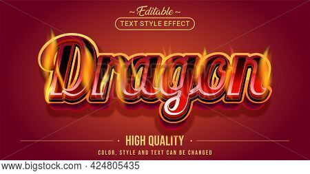 Editable Text Style Effect - Dragon Text Style Theme. Graphic Design Element.