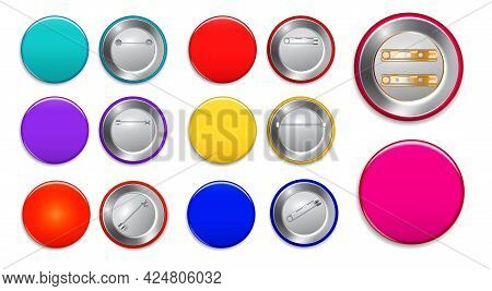 Set Of Realistic Pin Button Isolated Or Pin Brooch Button Template Promotion Merchandise Or Various