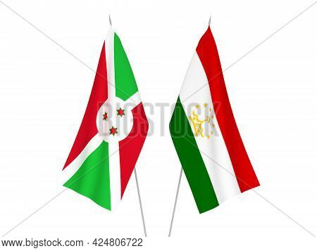 National Fabric Flags Of Tajikistan And Burundi Isolated On White Background. 3d Rendering Illustrat