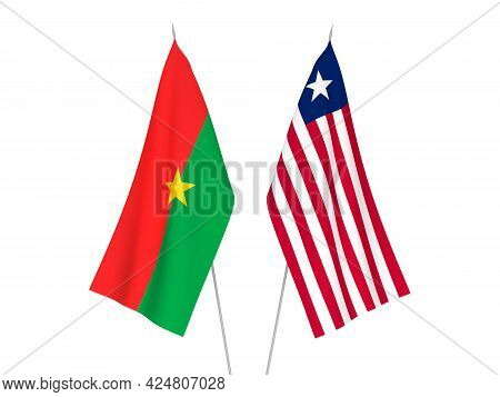 National Fabric Flags Of Burkina Faso And Liberia Isolated On White Background. 3d Rendering Illustr