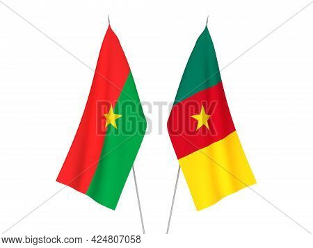 National Fabric Flags Of Burkina Faso And Cameroon Isolated On White Background. 3d Rendering Illust