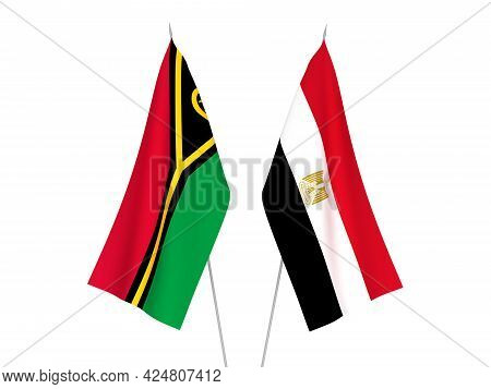 National Fabric Flags Of Egypt And Republic Of Vanuatu Isolated On White Background. 3d Rendering Il