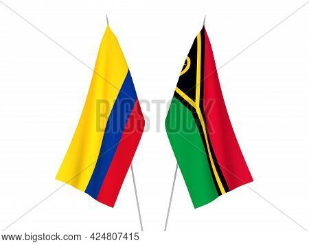 National Fabric Flags Of Colombia And Republic Of Vanuatu Isolated On White Background. 3d Rendering