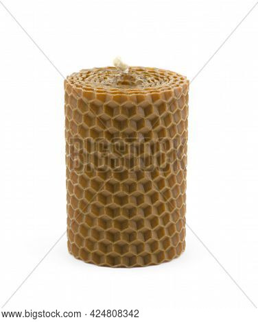 Brown Scented Wax Candle Isolated On White Background. Honey-scented Candles
