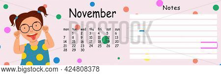 Glider Wall Calendar Template For The Year 2022 Month Of November.