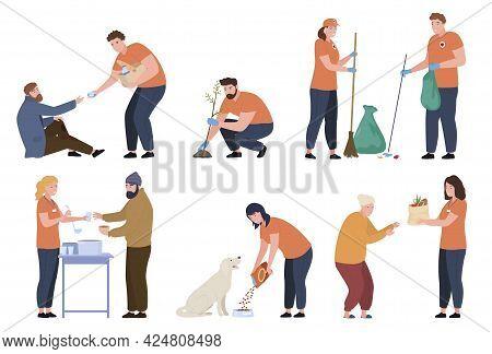 Bundle Of People Volunteer Work Vector Flat Illustration Man And Woman Volunteering, Supporting
