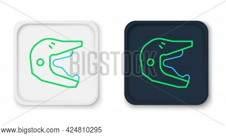 Line Motocross Motorcycle Helmet Icon Isolated On White Background. Colorful Outline Concept. Vector