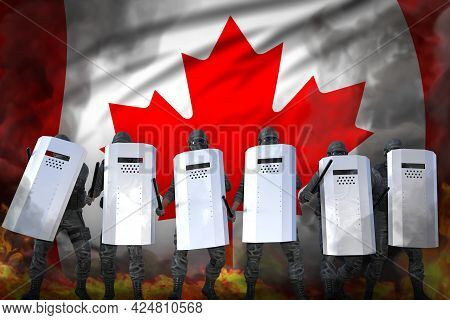 Canada Protest Stopping Concept, Police Swat In Heavy Smoke And Fire Protecting Peaceful People Agai