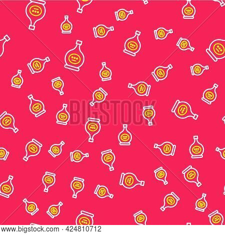 Line Bottle Of Cognac Or Brandy Icon Isolated Seamless Pattern On Red Background. Vector