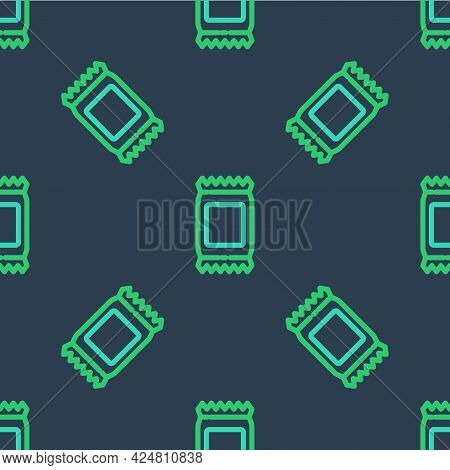 Line Fertilizer Bag Icon Isolated Seamless Pattern On Blue Background. Vector