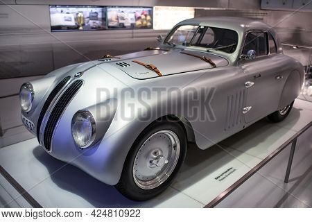 Munich, Germany - September 14, 2018: Luxurious, Magnificent Bmw 328 Mille Miglia Roadster Silver Sp