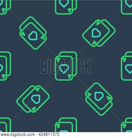 Line Playing Cards Icon Isolated Seamless Pattern On Blue Background. Casino Gambling. Vector