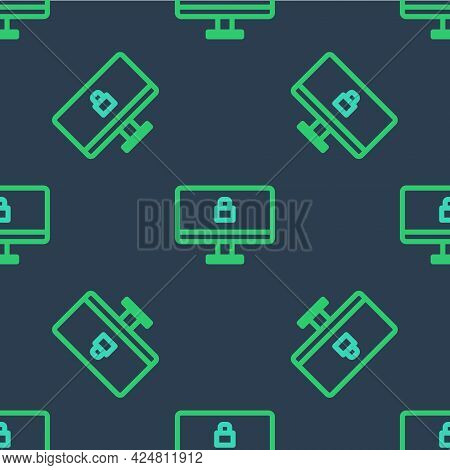 Line Lock On Computer Monitor Screen Icon Isolated Seamless Pattern On Blue Background. Security, Sa