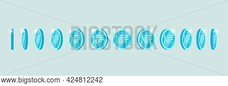 Nft Non Fungible Light Blue Token Turn Around Different Position Set. Online Money For Buy Exclusive