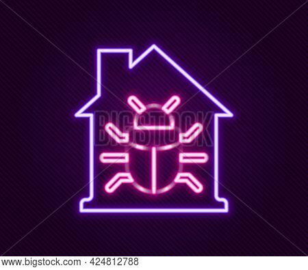 Glowing Neon Line House System Bug Concept Icon Isolated On Black Background. Code Bug Concept. Bug