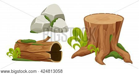 Set Tree Stump, Log And Stone Pile With Moss In Cartoon Style, Forest Objects Isolated On White Back