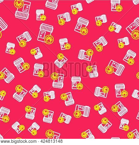 Line Dog Medicine Bottle Icon Isolated Seamless Pattern On Red Background. Container With Pills. Pre