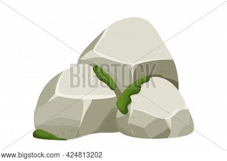 Stone, Rock With Moss And Grass Isolated On White Background. Big Boulder Element, Granite Block For