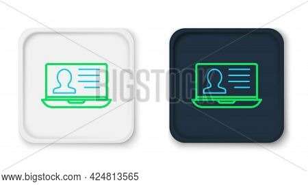 Line Laptop With Resume Icon Isolated On White Background. Cv Application. Searching Professional St