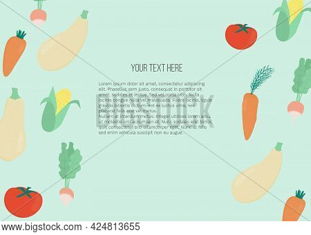 Vector Banner With Vegetables: Carrot, Radish, Tomato, Corn And Place For Text On Blue Background. T