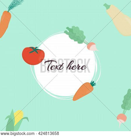 Vector Banner With Vegetables: Carrot, Radish, Tomato, Corn And Place For Text On Green Background.