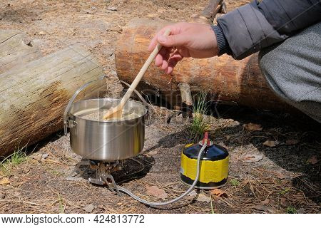 Camping Food Making. Travel Food For Outdoor Activities. Food In Bowls In The Summer Forest.