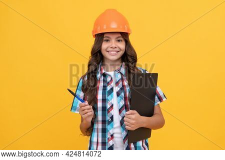 Child In Helmet Hold Project. Construction Documents. Signing A Contract. Kid Education.