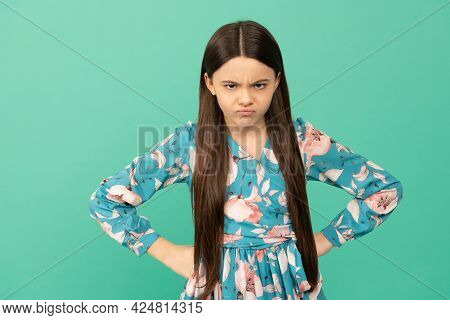 Disobedient Spoilt Girl Child Frown Keeping Arms Akimbo Blue Background, Disobedience