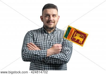 White Guy Holding A Flag Of Sri Lanka Smiling Confident With Crossed Arms Isolated On A White Backgr