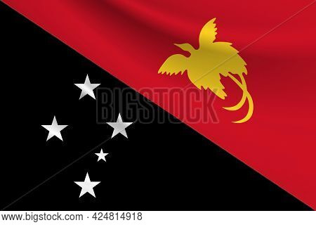 Flag Of Papua New Guinea. Fabric Texture Of The Flag Of Papua New Guinea.