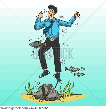Optimistic Suicide Drowned Man Person Color Line Art Sketch Engraving Vector Illustration. T-shirt A