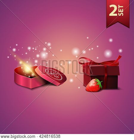 Collection Of Valentines Day Icons. Box Of Chocolates In Form Of Heart And Present With Strawberry